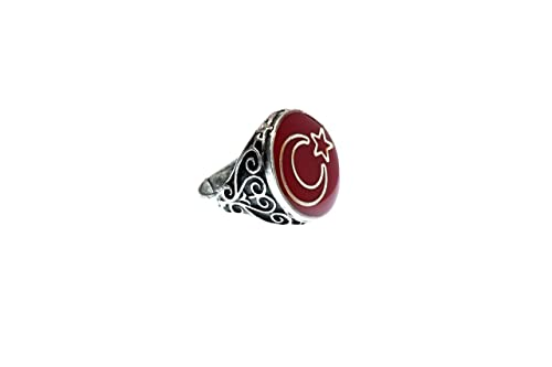 Mond /& Stern Ring in Damen Schmuck mit Steinen verstellbare Größe Türkei silber