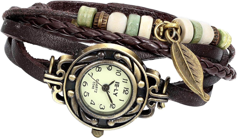 Avaner - Reloj de Pulsera de Cuero Hecho a Mano, diseño de Hoja de árbol, para Mujer y Hombre