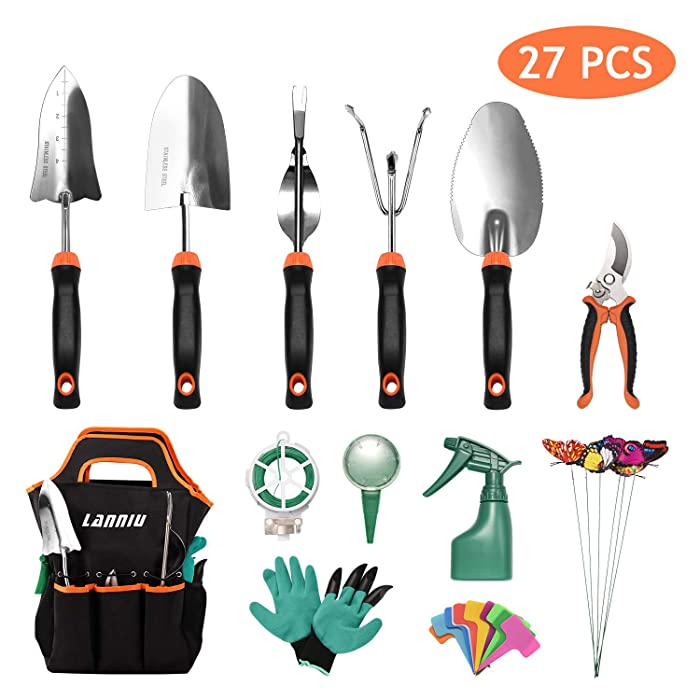 LANNIU Garden Tool Set, 27 Piece Stainless Steel Heavy Duty Gardening Hand Tool Kit Garden Gloves and Organizer Tote Outdoor Gardening Gifts Tools Set for Parents