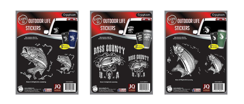 9 pieces total Enjoy It JQL Fish Hunters Car Sticker Kit Bass, Bass County, Trout 3 designs