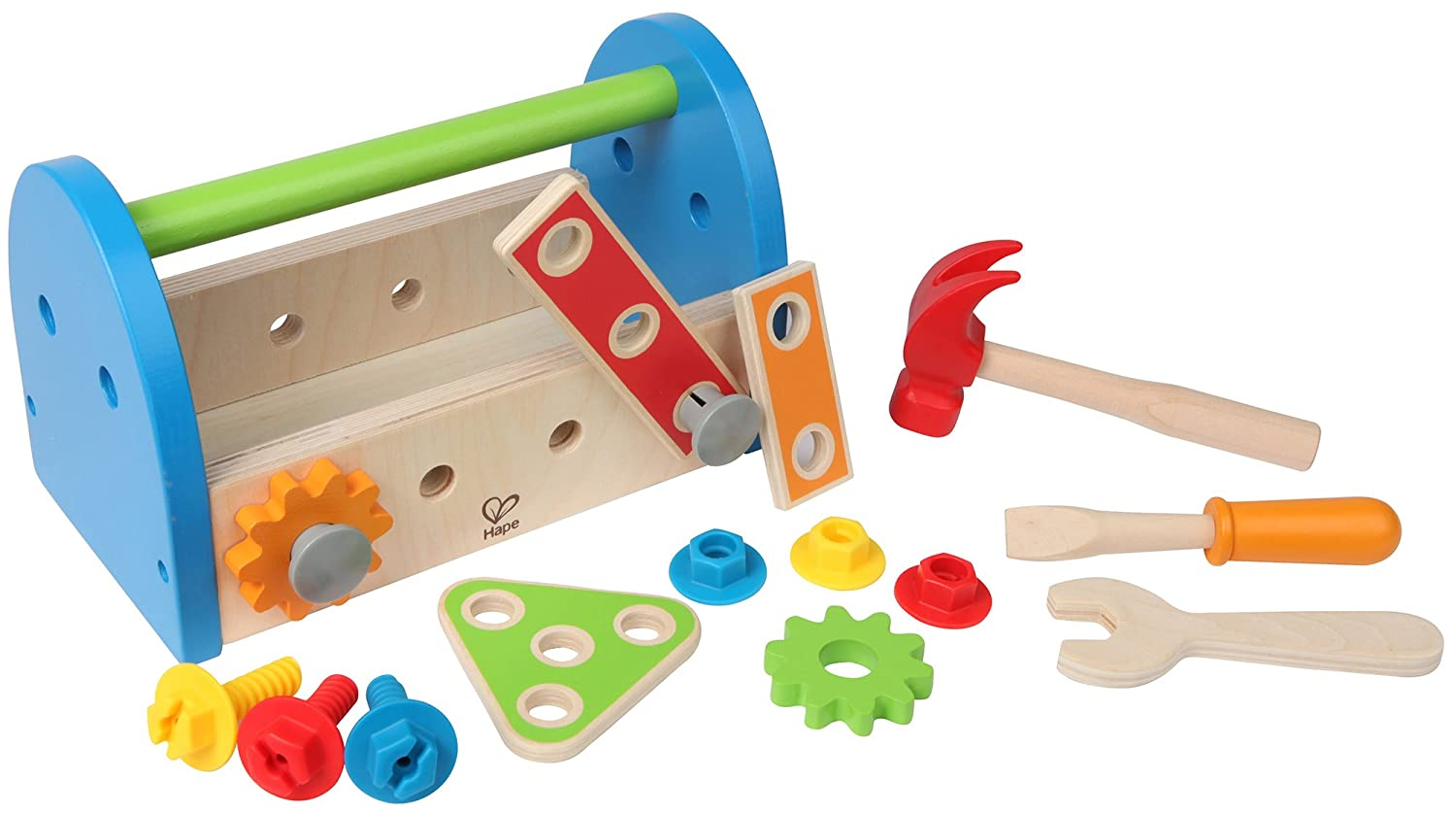 Hape Fix It Kid's Wooden Tool Box and Accessory Play Set E3001