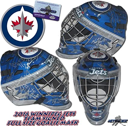 Amazon Com 2016 Winnipeg Jets Team Signed Full Size Goalie Mask W Coa Hologram Autographed Nhl Helmets And Masks Sports Collectibles
