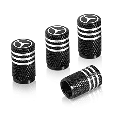 Qideloon Auto Tire Valve Caps,4pcs Aluminum Valve Stem Caps Universal fit for Car,Motorbike,Trucks,Bike and Bicycle (Black): Automotive