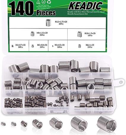 Gobesty Thread Repair Insert Kit 140pcs Stainless Steel Wire Thread Insert Assortment Metric Helicoil Type Thread Repair Insert M2 M3 M4 M5 M6 M8 M10 M12