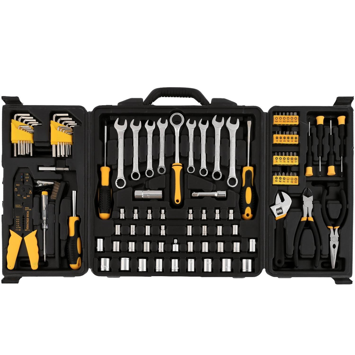 Rapesee 108 Pieces Home Repair Tool Kit - Multi-Function Basic General Household Hand Tool Set for Craftsman Starter Electronics Test Repair Maintenance with Plastic Toolbox Storage Case