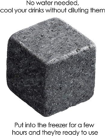 TRIXES 9 Piezas Calidad Granito - Whisky Piedras - Hielo Seco - Cubo Rocas - Regalo