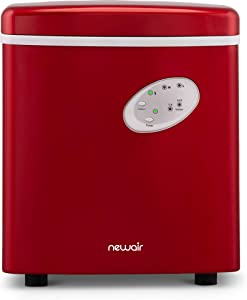 NewAir Portable Maker 28 lb Daily Icemaker, 3 Ice Bullet Sizes, Perfect Machine for Countertops, NIM028RE00 Red