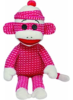 Ty Beanie Babies Sock Monkey Plush, Pink Quilted