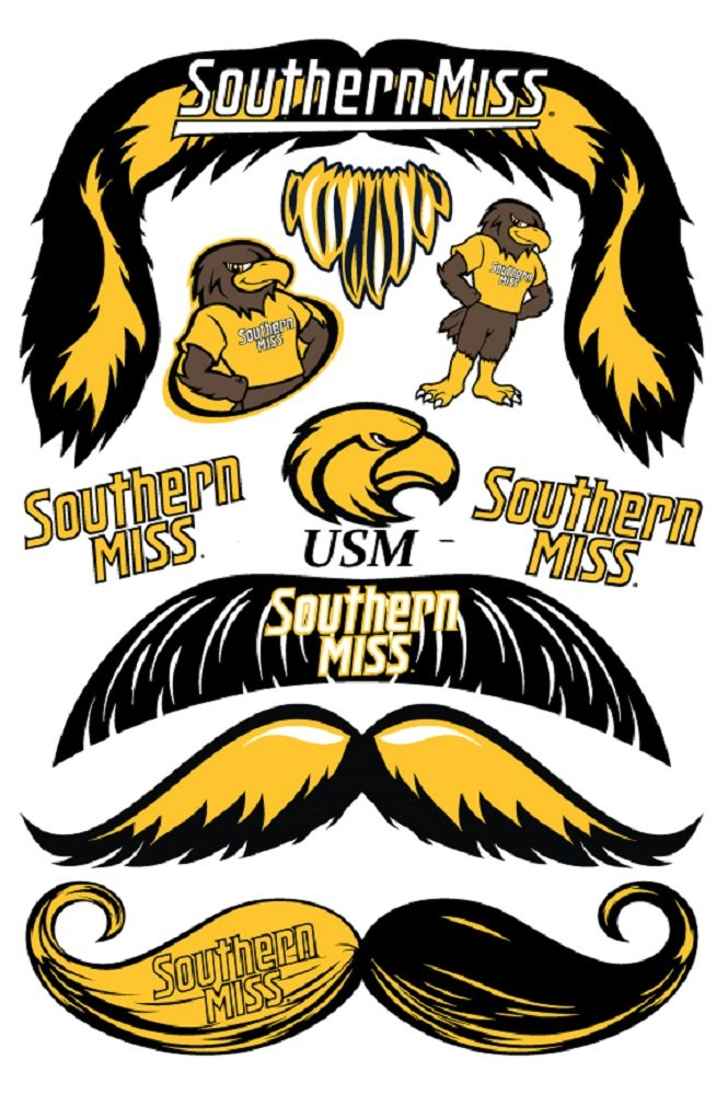 StacheTATS Souther Miss Temporary Mustache Tattoos
