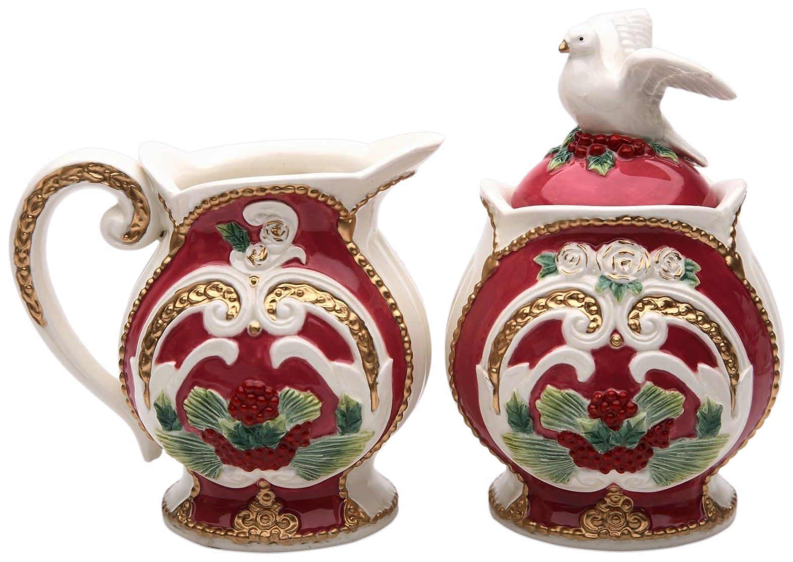 StealStreet SS-CG-10675, 5.25 Inch Porcelain Sugar and Creamer Set in Holiday Design with Dove