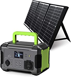 PAXCESS Portable Power Station 300W with Solar Panel Included, 288Wh Solar Generator with 60W Foldable Solar Panel, CPAP Backup Lithium Battery for Outdoor Camping RV Emergency Home Use
