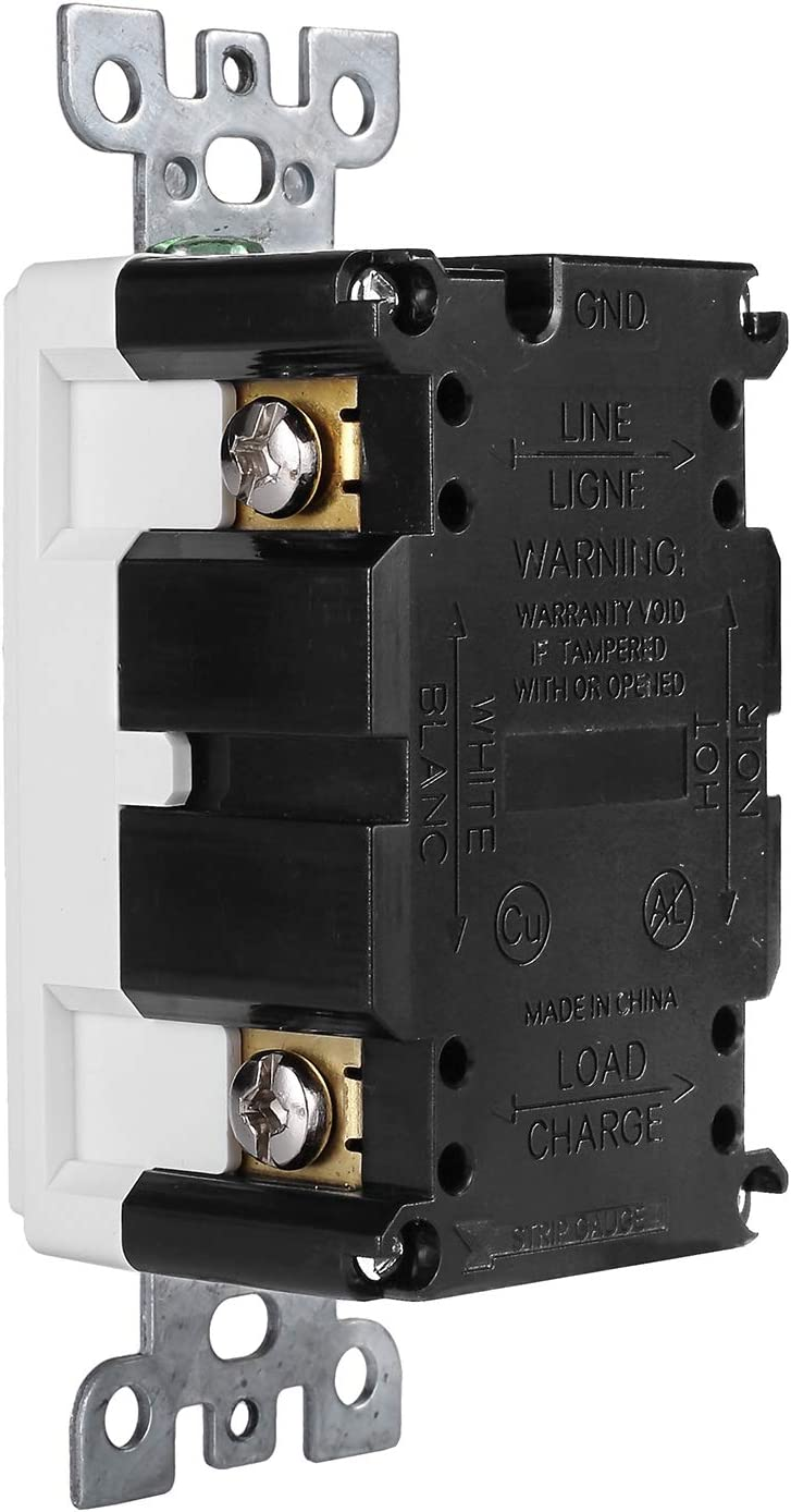 1 Pack - GFCI Duplex Outlet Receptacle - Tamper Resistant & Weather Resistant 20-Amp/125-Volt, Self-Test Function with LED Indicator - UL Listed, cUL Listed - Wall Plate and Screws Included, White - -