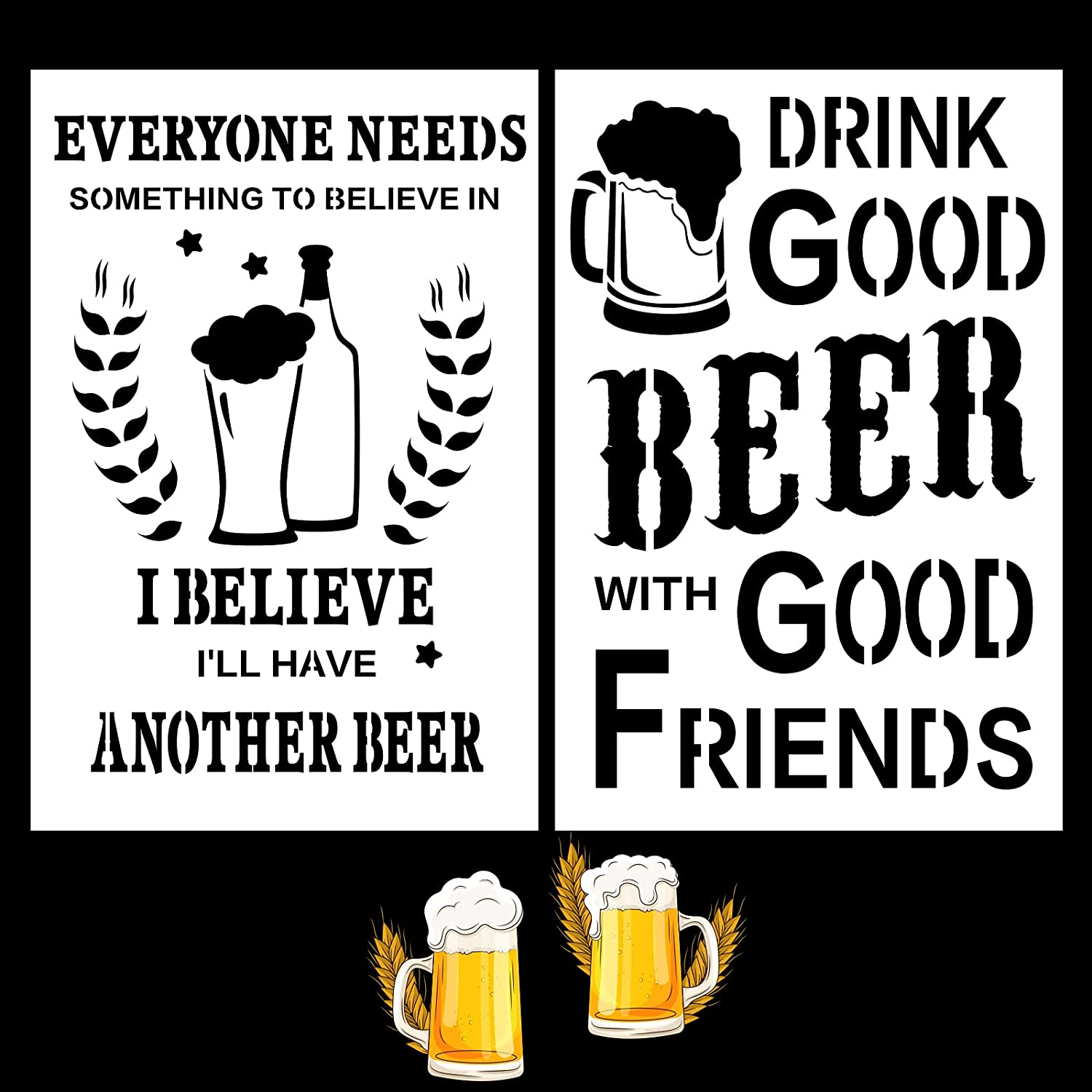 """Beer Sign Stencils Kit for Man Cave Bar Kitchen- Rustic Farmhouse Inspirational Template 12""""X6"""" Reusable Drawing Stencil DIY Wall Furniture Canvas Paper Fabric Floor Tiles Decoration Set of 2"""
