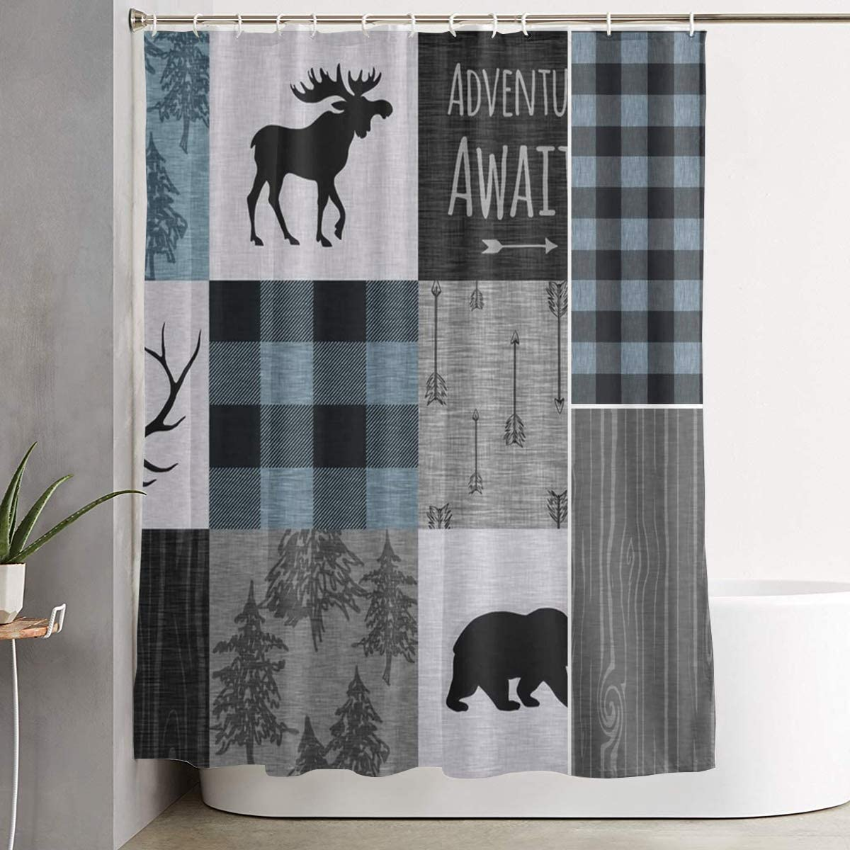 Carwayii Retro Rustic Lodge Bear Moose Deer Bath Curtain Polyester Quick Dry Shower Curtain Machine Washable Premium Bathroom Curtain Lightweight Bathroom Accessories for Home Bathroom Decor 72x72In