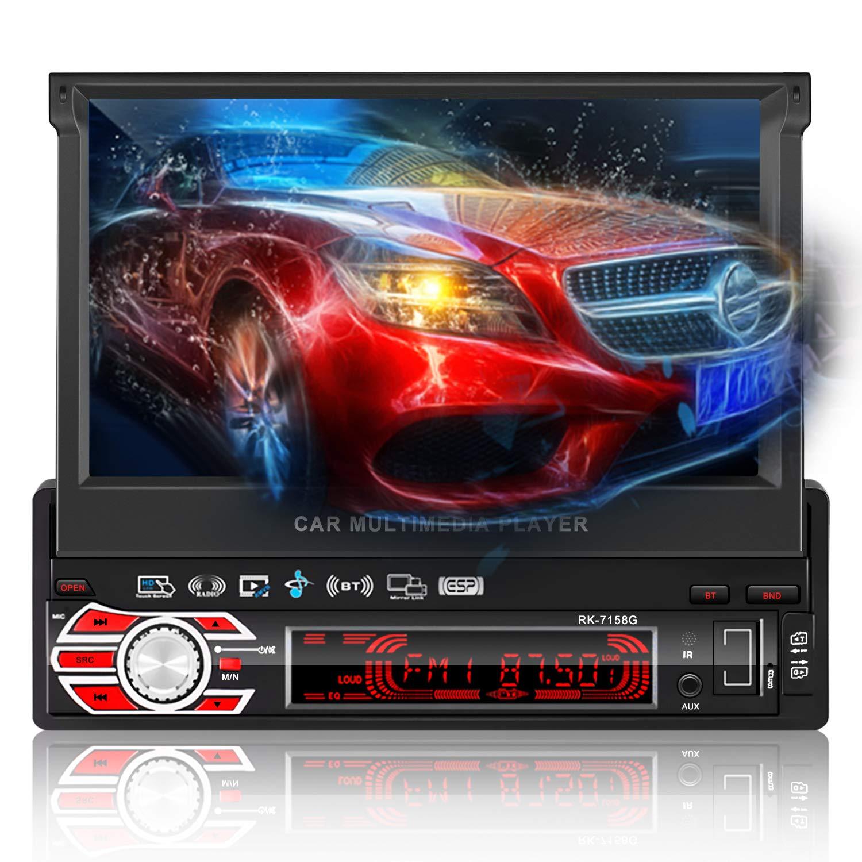 1 DIN MP5 Player per auto, OCDAY 7 'Bluetooth Touch Screen GPS Navigatore Radio con funzione automatica retrattile, telecamera per la visione posteriore Stereo Video AUX Controllo del volante USB