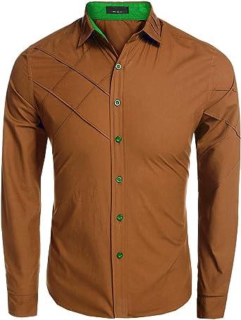Coofandy Camisa de Vestir Hombre Manga Larga de Trabajo Multcolor ...