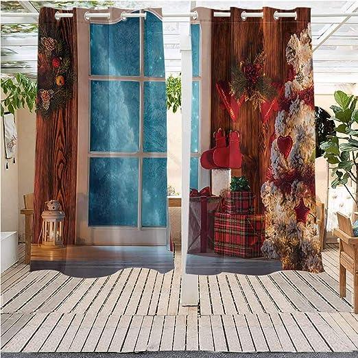 Cortinas de Exterior para Interior y Exterior, decoración navideña, diseño de Camiones Rojos Vintage en pérgola para Interior y Exterior, Impermeables, Multicolor: Amazon.es: Jardín