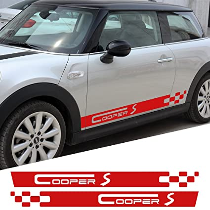 Amazoncom 2 Pieces Door Side Decals For Mini Cooper S Racing