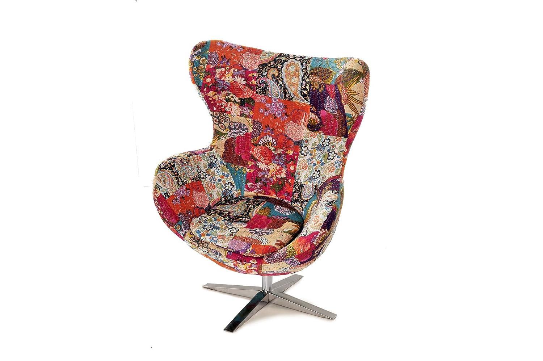 SAM® Design Armlehn Stuhl 4620 CPG21 Mit Buntem Muster Armlehnstuhl In Stoff  Mit Füßen Aus Edelstahl, Sessel Höhenverstellbar, Abnehmbares Sitzkissen,  ...