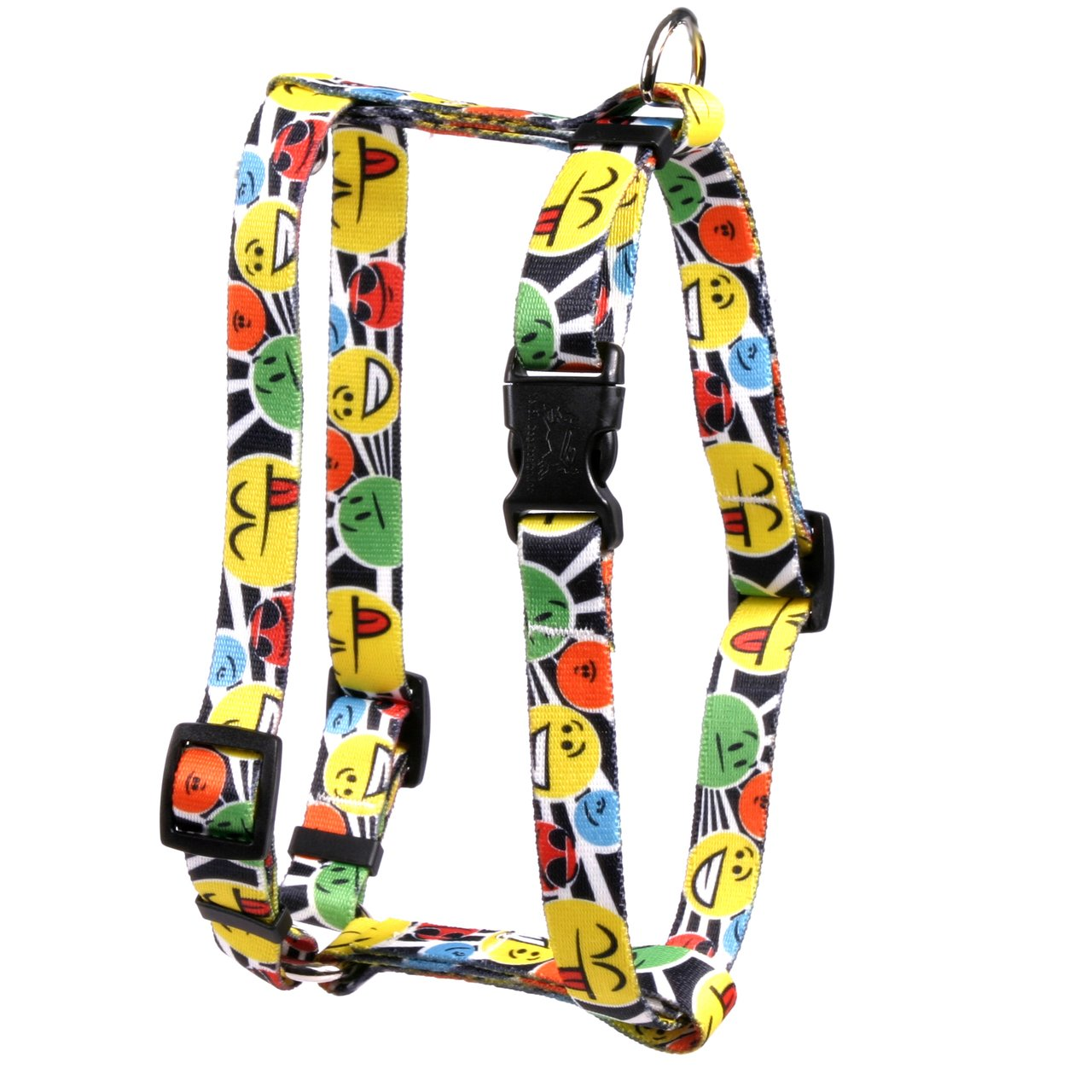 Yellow Dog Design Smiles Roman Style H Dog Harness-X-Large-1'' Wide and fits Chest Circumference of 28 to 36''