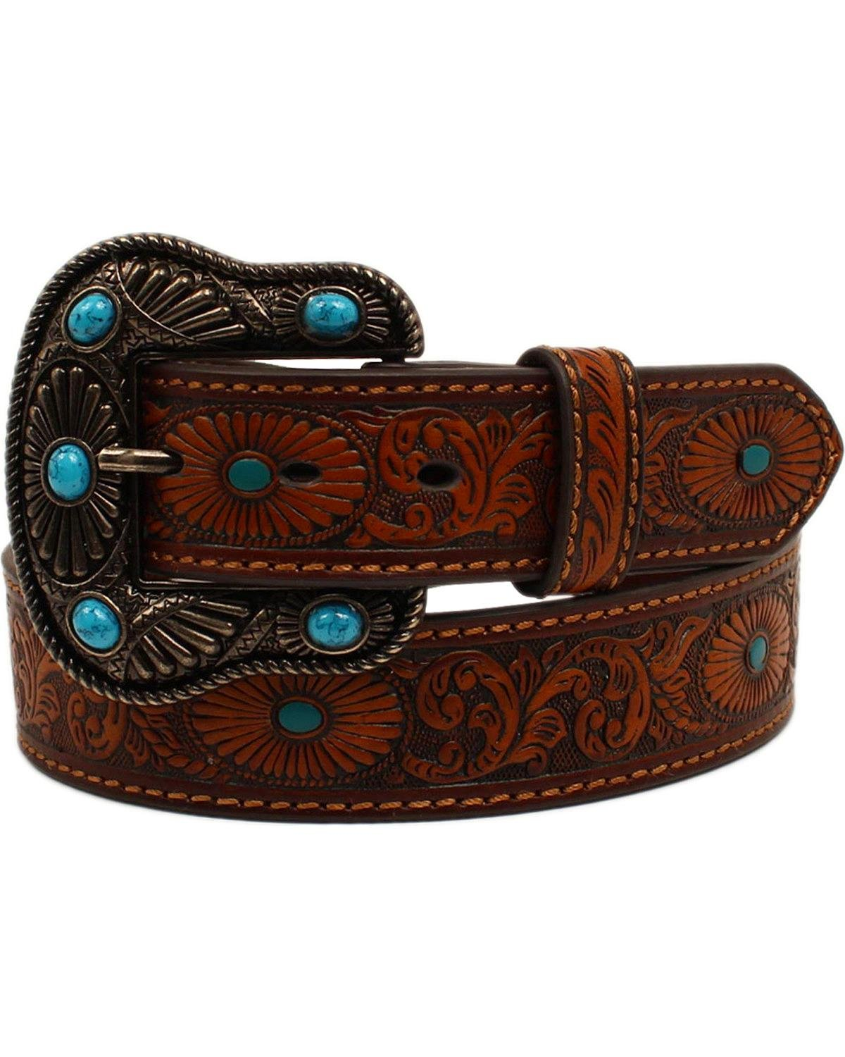Nocona Belt Co. Women's Scroll Embossed Painted Turquoise Oval Belt, brown, Large