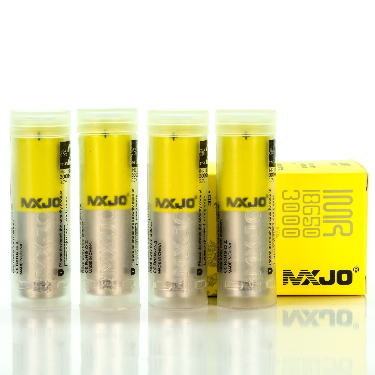 4x MXJO IMR 18650 3000MAH 35A 3.7V FT rechargeable batteries each battery in PVC CASE | authentic original flat top high drain (V Force) MXJO 18650 3000MAH