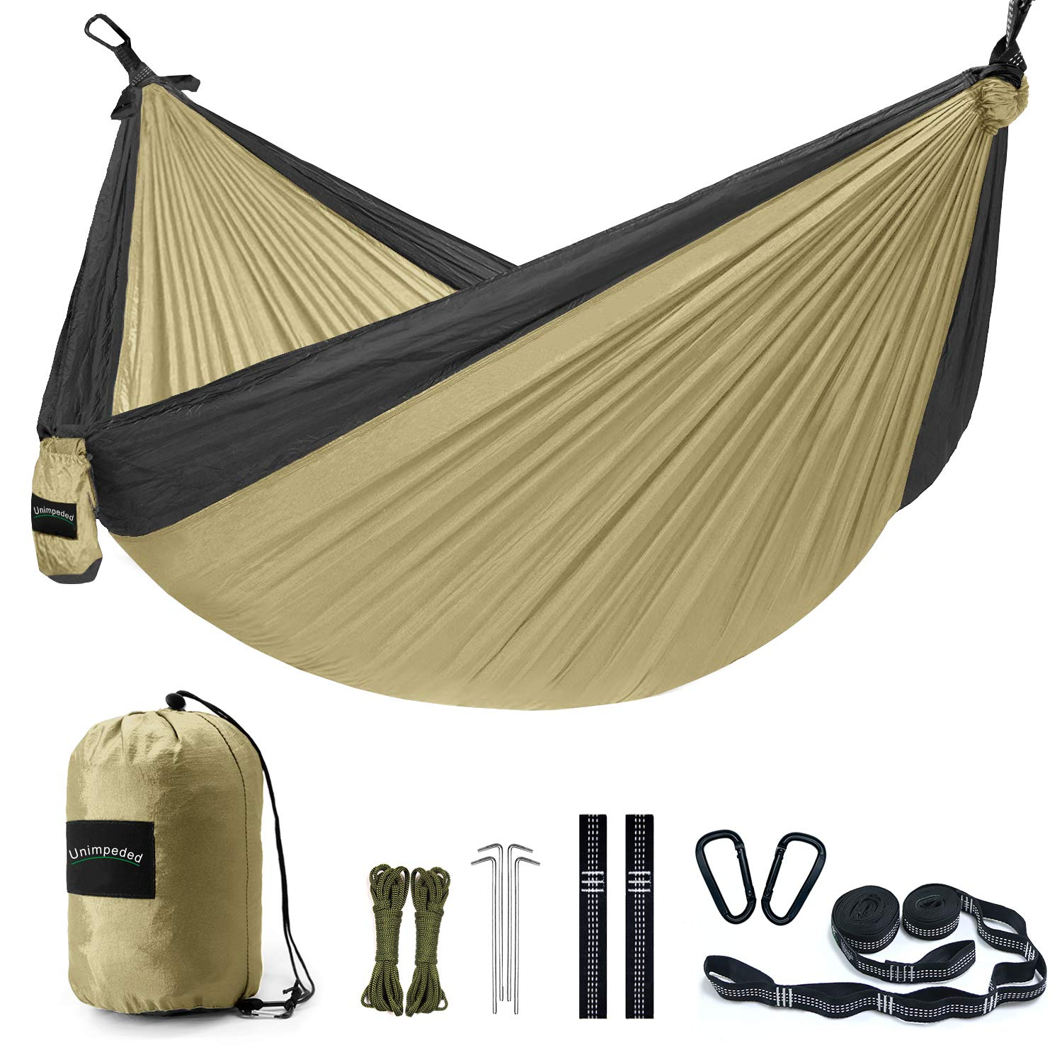 Unimpeded Camping Hammock Multi-Functional Single Double Portable Hammock Heavy Duty Straps Carabiners – Lightweight Nylon Parachute Hammock Many Accessories Travel, Backpacking,Camp