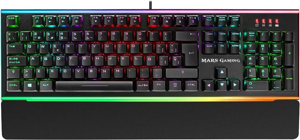MARSGAMING MK6, teclado óptico-mecánico, LED Dual Chroma RGB, switch azul