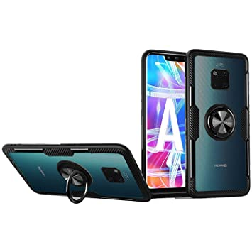 SORAKA Funda para Huawei Mate 20 Pro,Transparente Carcasa con Soporte para Anillo,Compatible con Soporte Móvil Coche Magnético
