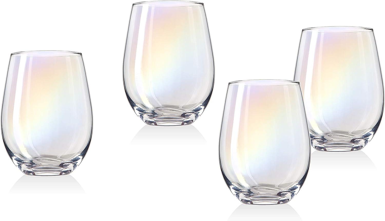 Monterey Stemless Wine Goblet Beverage Glass Cup by Godinger – Set of 4