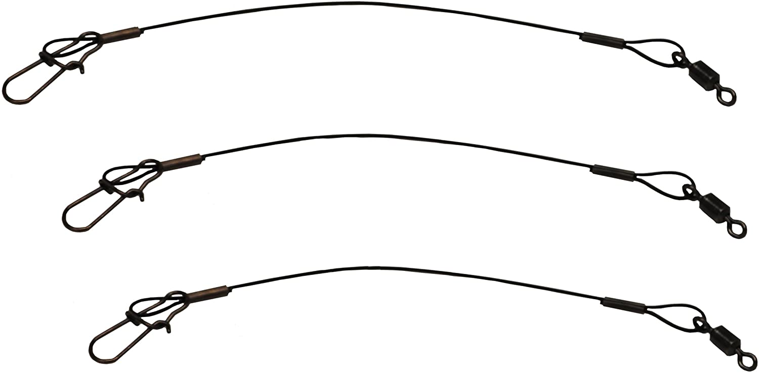 "Eagle Claw Black Heavy Duty 18/"" Wire Leaders 3-Pack"