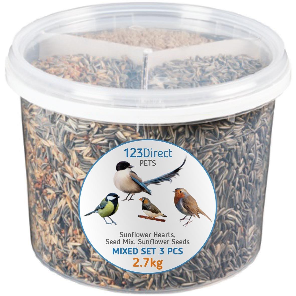 Mezcla de Semillas para pajaros y aves de alta calidad. Producto excepcional 3 en 1 | Todo en un cubo de alimentación reutilizable | Mezclado de comida de alta calidad | Pipas de girasol (con cáscara)+ Mezcla de pienso y alpiste + Semillas de girasol de ma