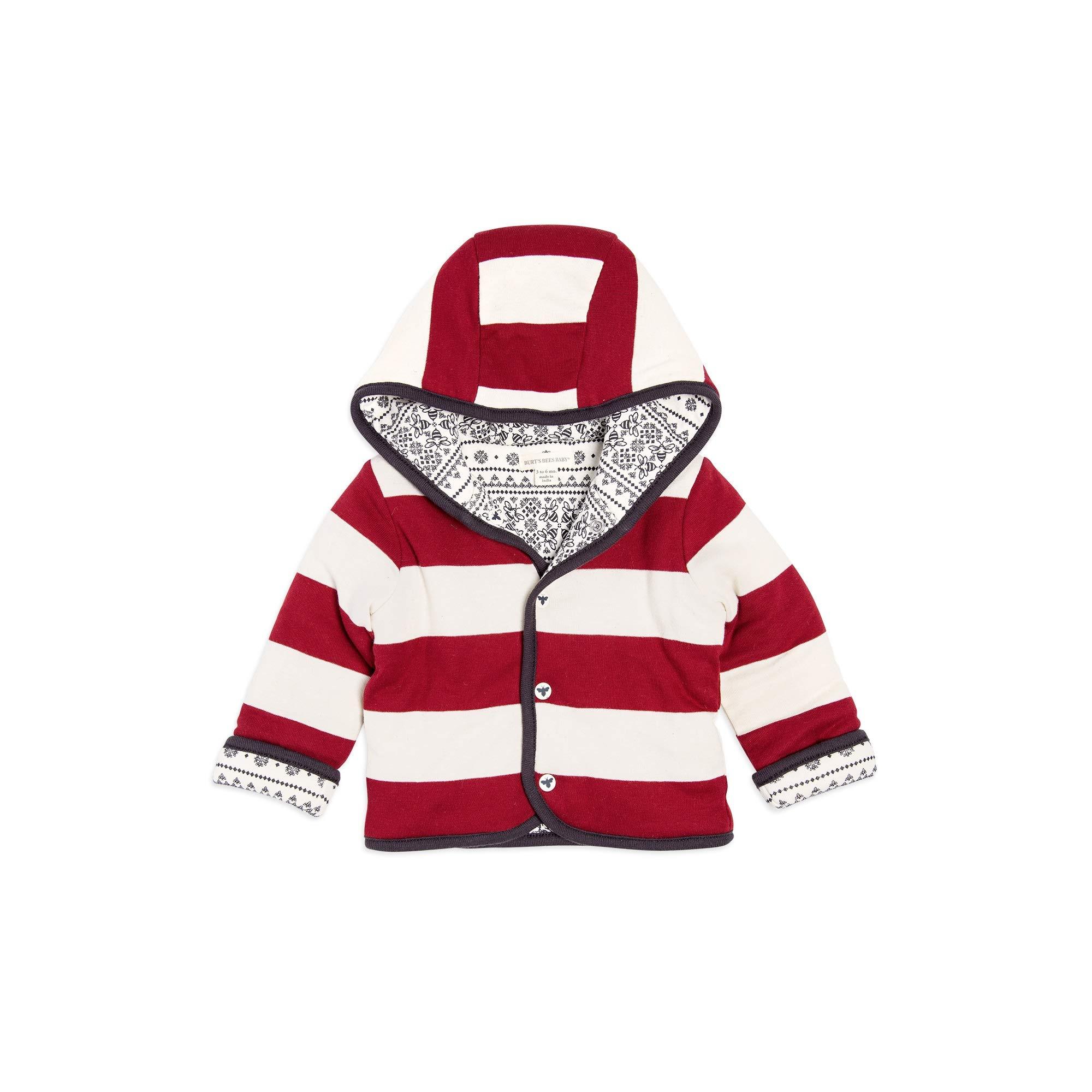 Burt's Bees Baby Jacket, Hooded Coat, 100% Organic Cotton, Cranberry Fair Isle Reversible, 18 Months