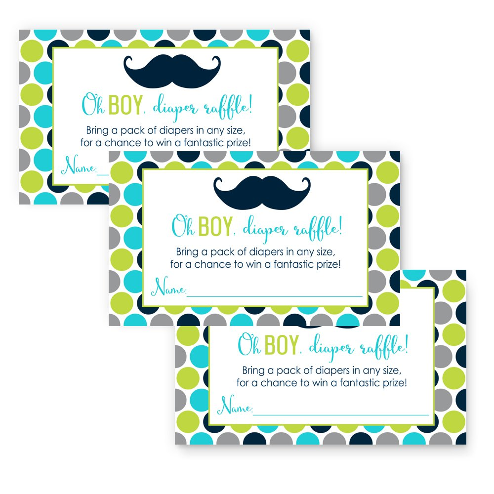 Amazon 50 mustache oh boy baby shower invitations and paper clever party mustache baby shower diaper raffle game card 25 pack filmwisefo