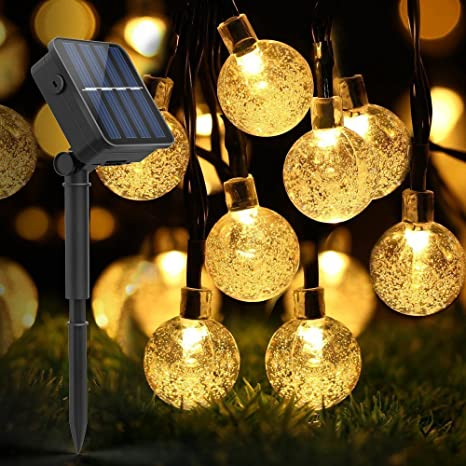 Amazon globe outdoor solar string lights ldesign 20 feet globe outdoor solar string lights ldesign 20 feet 30led fairy bubble crystal ball lights decorative mozeypictures Images