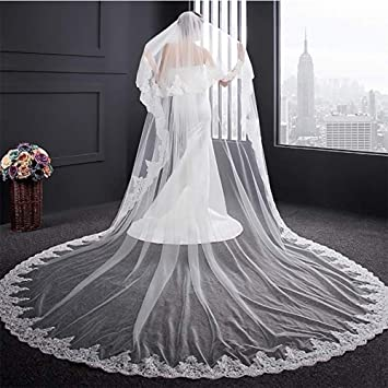 new Elegant Cathedral wedding veil bride party 1T mantilla with comb white ivory