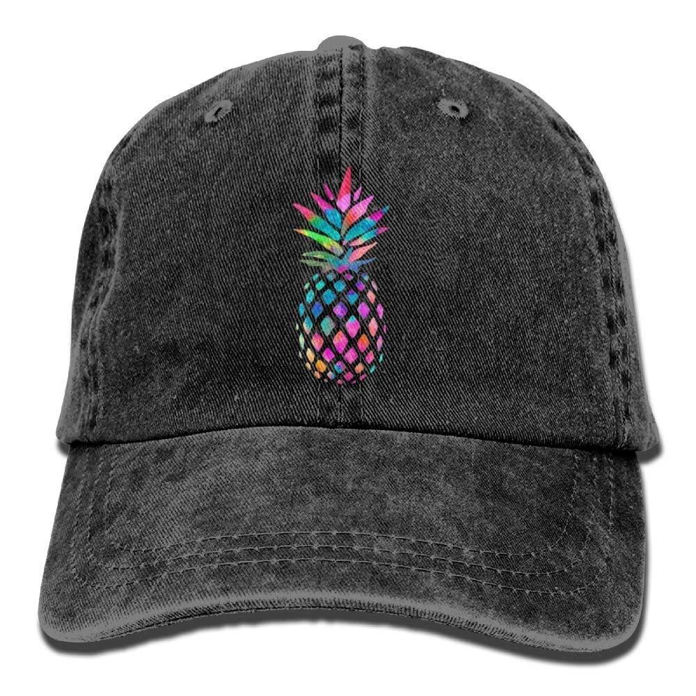 JTRVW Cute Rainbow Pineapple Denim Hat Adjustable Womens Plain Baseball Caps