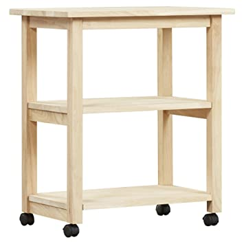Unfinished Style 2 Shelf Parawood Butcher Block Countertop Serving Cart  With Wheels