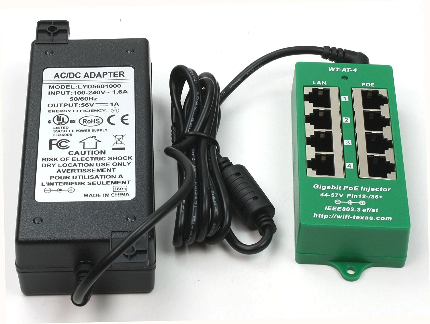 Wt At 4 56v60w 8023at Negotiating Gigabit Poe Port Ac Dc Power Supply 60w 24vdc 25a Active Tech Electronics Over Ethernet Injector For Cameras Ip Phones Wifi Access Points