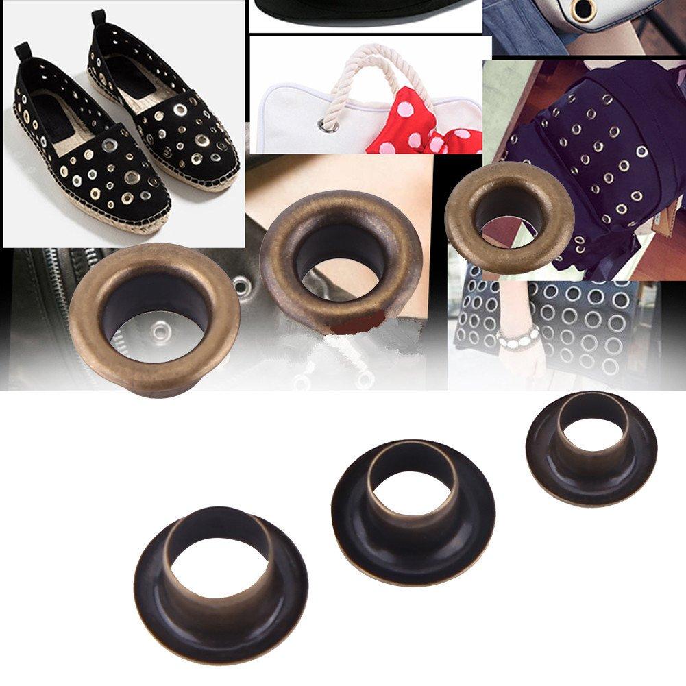 Akozon Ojetes Metalicos Ojetes y arandelas para Tarjeta de piel Craft Decoraci/ón retro 8mm 100sets