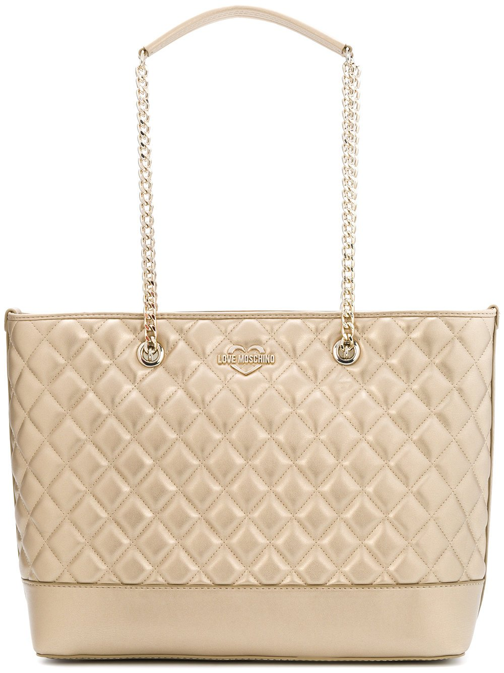 LOVE MOSCHINO Diamond Quilted Logo Shoulder Tote Bag, Gold