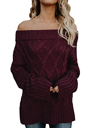 dc5b6768a9 Chuanqi Womens Oversized Off The Shoulder Sweaters Cable Knit Fall Long  Casual Loose Pullover