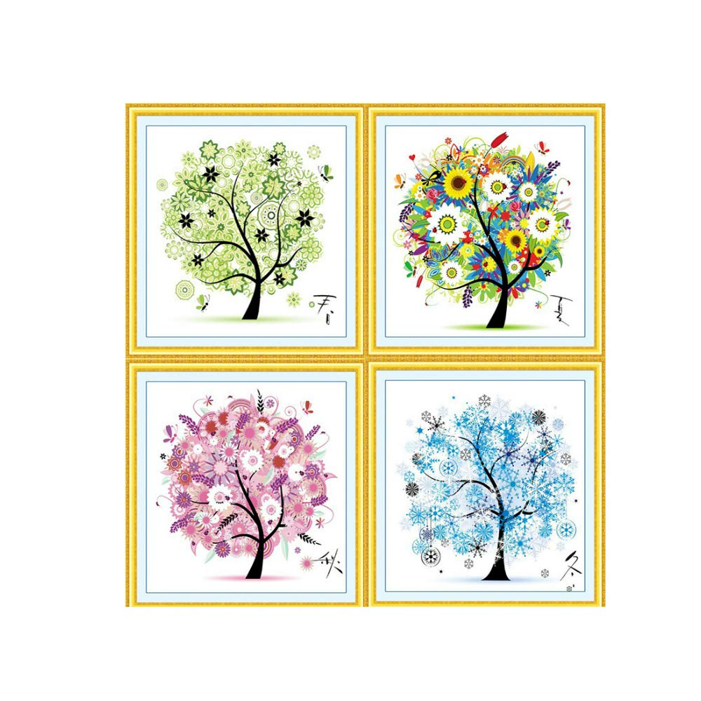 Cross stitch, tree, spring, summer, autumn and winter, 4 pairs, P0001 YanFa Cross stitch