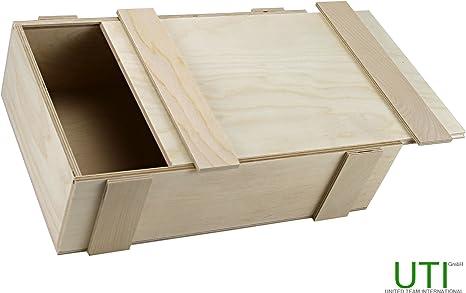 contrachapado Caja con tapa deslizante – Madera Caja Caja Almacenamiento Caja Joyero caja: Amazon.es: Hogar
