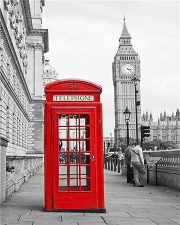 aofoto 1.2 x 1.5 m rojo cabina de teléfono de coche de Londres Big Ben de