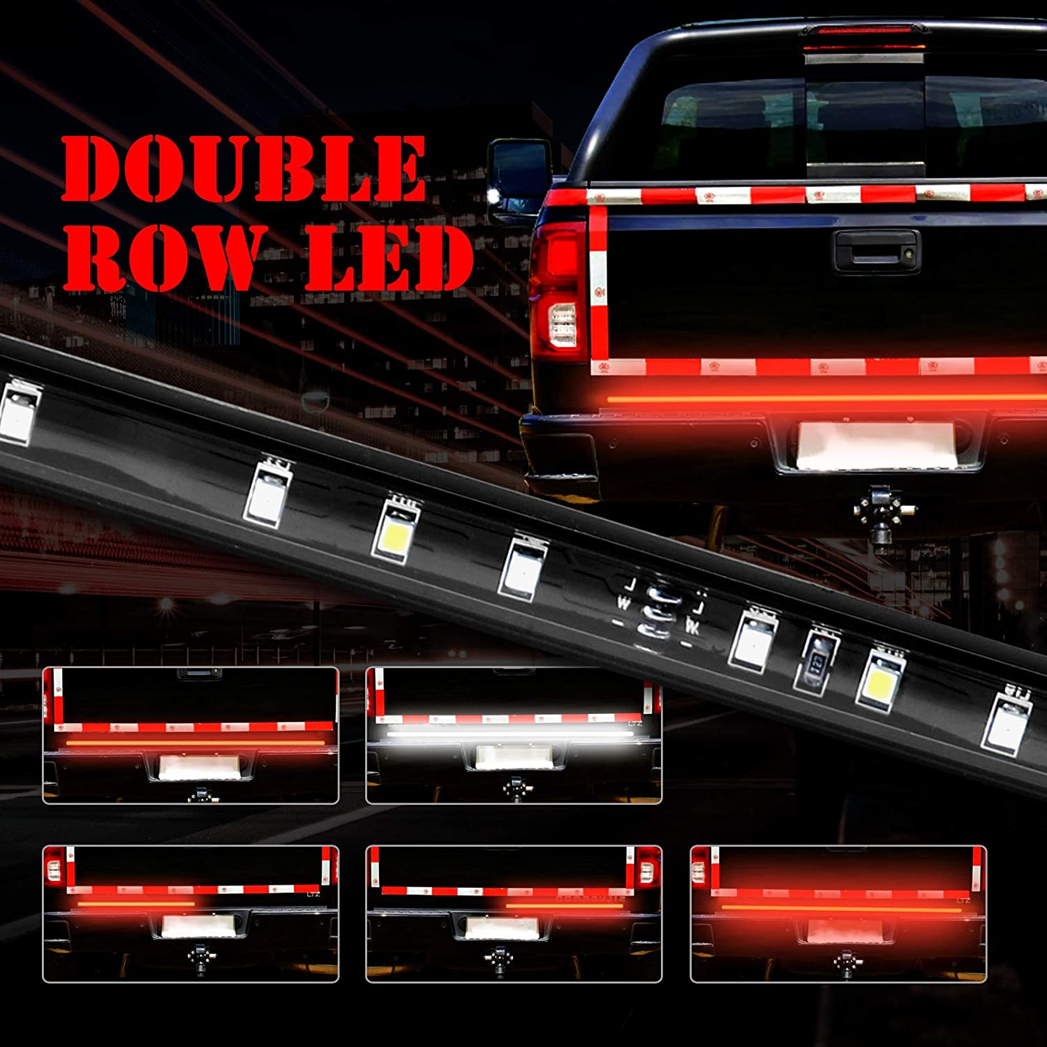 Brake Light Reverse Light 60 Inch LED Tailgate Light Bar,504 LED Triple Row Truck Tail Light Strip Waterproof for Pickup Trailer SUV RV VAN with 4 Pin Flat Connector Wire,Turn Signal Running