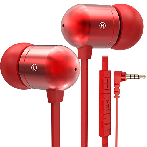 Betron B750s Earphones Headphones, High Definition, in-ear, Tangle Free, Noise Isolating , HEAVY DEEP BASS for iPhone, iPod, iPad, MP3 Players, Samsung Galaxy, Nokia, HTC, Nexus, BlackBerry etc (Red with Volume Control and Mic)