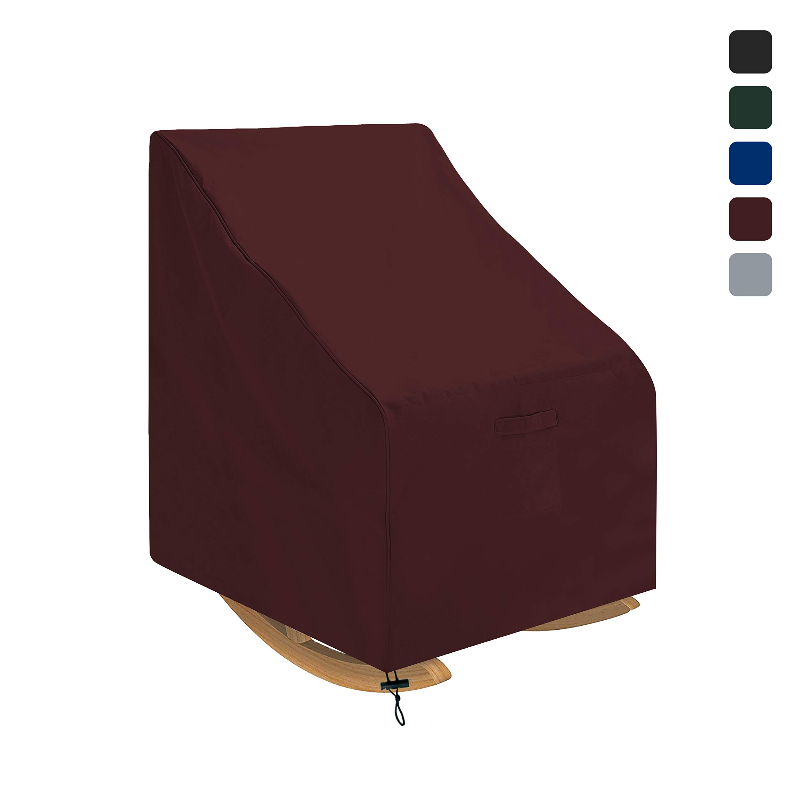 COVERS & ALL Outdoor Rocking Chair Cover Waterproof 18 Oz - 100% UV & Weather Resistant Patio Chair Cover with Air Pockets and Drawstring for Snug Fit (36 W x 44 D x 45 H, Burgundy)