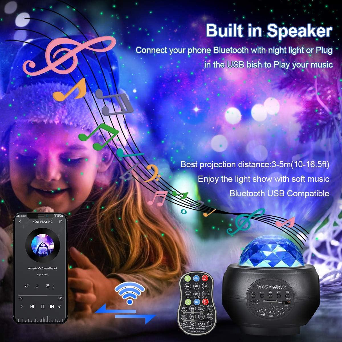 L/ámpara Proyector Estrellas Infantil Proyector de Estrellas de luz Nocturna Ocean Wave con temporizador Control Remoto Audio Bluetooth para Ni/ños Adulto Cumplea/ños y Fiesta