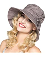 OLEWELL Women's Floppy Foldable Staw Hand Woven Bow UPF 50+ Hat-Hollow-Summer Sun Beach-Wide Brim Cap